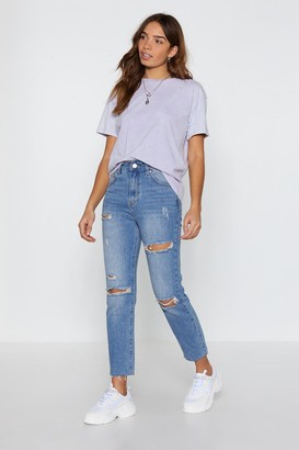 Nasty Gal Womens Too Blessed to Be Distressed Straight Leg Jeans - Blue - 6