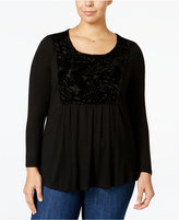 Style&Co. Style & Co. Plus Size Velvet-Trim High-Low Top, Only at Macy's
