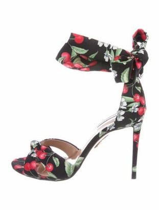 Aquazzura Floral Print Sandals Black
