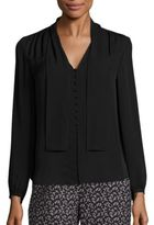 Rebecca Taylor Silk Georgette Tie-Neck Blouse