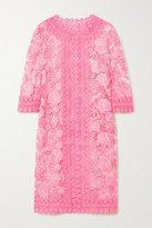 Thumbnail for your product : Naeem Khan Crochet-trimmed Embroidered Tulle Jacket - Pastel pink