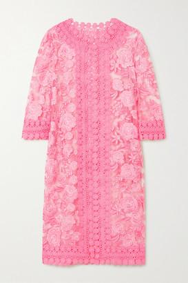 Naeem Khan Crochet-trimmed Embroidered Tulle Jacket - Pastel pink