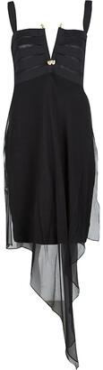 Gianfranco Ferre Black Draped Silk Embellished Sleeveless Dress M