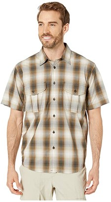 Filson Short Sleeve Feather Cloth Shirt (Green/Grey/Cream Plaid) Men's Short Sleeve Button Up