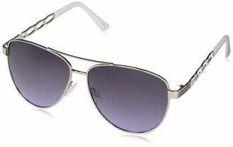 Rocawear Women's R3304 Metal Aviator Sunglasses with Chain Temple Details Enamel Tips and 100% UV Protection 55 mm