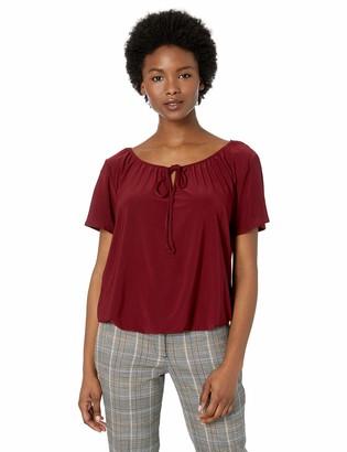 Star Vixen Women's Petite Short-SLV Keyhole-Tie Knit Peasant w Bubble Hem Top