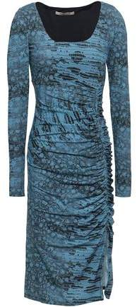 Roberto Cavalli Ruched Animal-print Stretch-jersey Dress