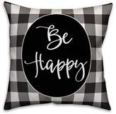 "Designs Direct ""Be Happy' Square Throw Pillow in Black/White"