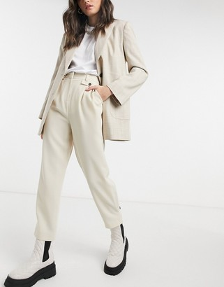 Topshop twill trousers in cream