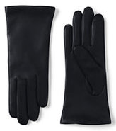 Lands' End Women's Cashmere Lined Leather Gloves-Navy
