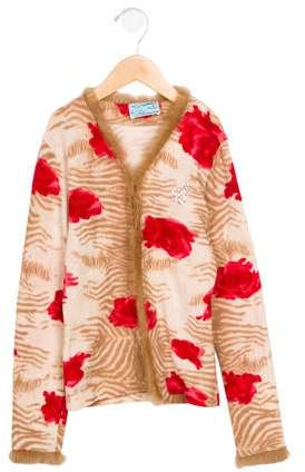 Miss Blumarine Girls' Patterned Long Sleeve Sweater