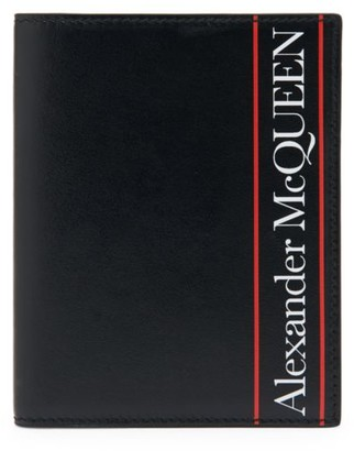 Alexander McQueen Bicolor Logo Printed Leather Card Holder