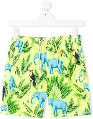 MC2 Saint Barth Kids TEEN tropical print swim trunks