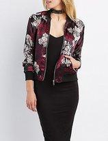 Charlotte Russe Floral Satin Bomber Jacket