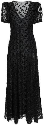 Black Iris Daisy Sequin Leopard-Print Maxi Dress