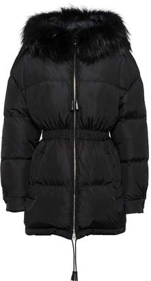 Prada Feather nylon puffer jacket with fur