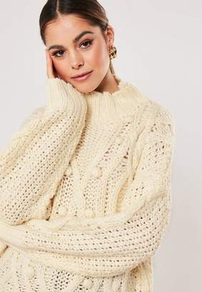 Missguided Premium Stone Bobble Front Cable Knit Sweater