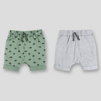 Lamaze Baby Boys' 2pk Organic Cotton Terry Harem Jogger Shorts - /Green