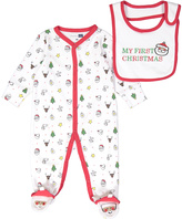 Vitamins Baby White & Red 'My First Christmas' Footie & Bib - Infant