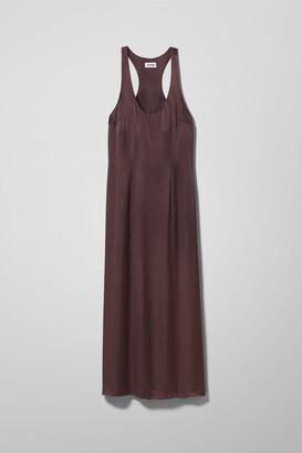 Weekday Moca Satin Dress - Brown