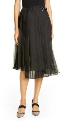 Fendi Pleated Silk Organza Wrap Skirt