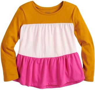 Toddler Girl Jumping Beans Long Sleeve Color Block Peplum Tee