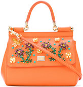Dolce & Gabbana Small Sicily handbag with flowers - women - Leather/glass - One Size