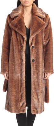 AVEC LES FILLES Belted Faux-Mink Coat