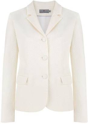 Klaudia Karamandi Vera Off White Fitted Cotton-Mix Blazer