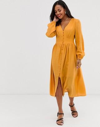 Glamorous midi tea dress with pleated skirt-Yellow