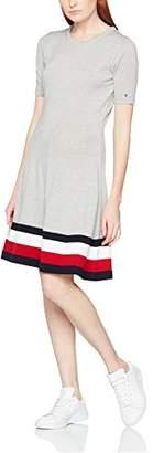 Tommy Hilfiger Women's Adana Tipping C-NK Dress (Light Grey HTR), (Size: Large)