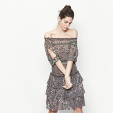 Maje Printed voile dress with smocking