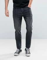 Asos Bow Leg Ankle Grazer Jeans With Raw Hem Detail In Washed Black