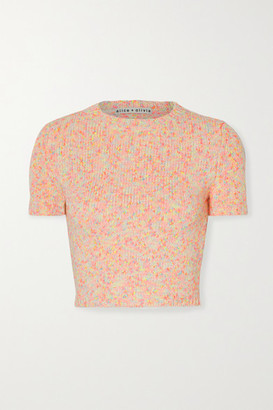 Alice + Olivia Ciara Cropped Cotton-blend Sweater - Blush
