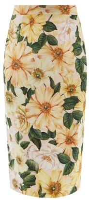 Dolce & Gabbana Camellia-print Silk-blend Charmeuse Pencil Skirt - Yellow Print
