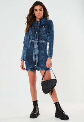 Missguided Contrast Belted Button Through Denim Mini Dress