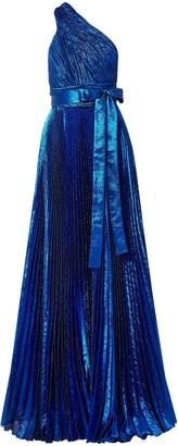 Elie Saab One-shoulder Plisse Silk-blend Lame Gown