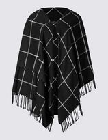 Marks and Spencer Shawl Collar Checked Wrap