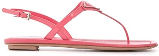 Prada Logo Plaque Flat Sandals