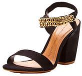 Moda In Pelle Larez Suede Chain Heel Sandals in Black Size 4