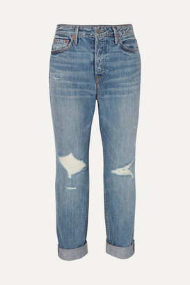 GRLFRND Devon Distressed High-rise Straight-leg Jeans - Mid denim