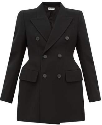 Balenciaga Hourglass Double Breasted Wool Twill Blazer - Womens - Black