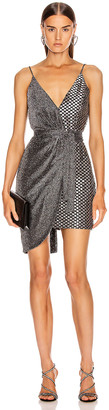 PatBO Metallic Mesh Mini Wrap Dress in Pewter & Silver | FWRD