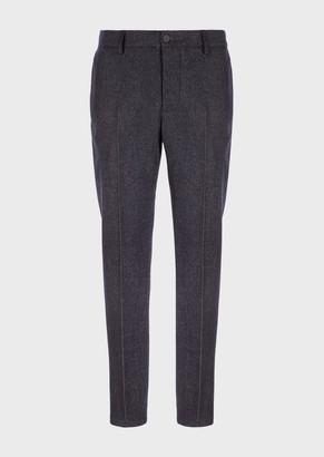 Giorgio Armani Denim-Look Wool Trousers