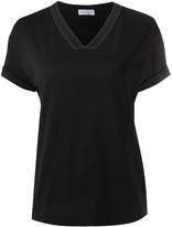 Brunello Cucinelli bead-detail v-neck T-shirt