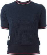 Thom Browne textured tricolour top - women - Cotton - 42