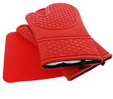 Number 1 Chef's Choice - Silicone Oven Mitts With Trivet - Quilted Cotton Lined Silicone Kitchen Gloves - Heat Resistant Potholder Gloves - Set of 2 with Bonus Silicone Trivet - Elbee 641