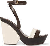 Tory Burch Woven and lizard-effect leather wedge sandals