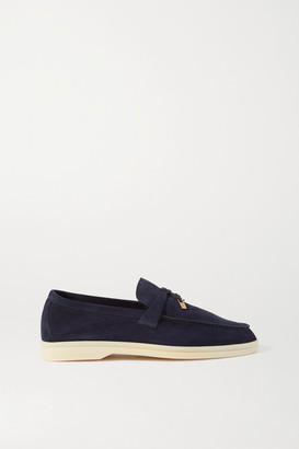 Loro Piana Summer Charms Walk Suede Loafers - Navy