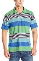 Izod Men's Short Sleeve Chatham Clique Auto Stripe Jersey Polo